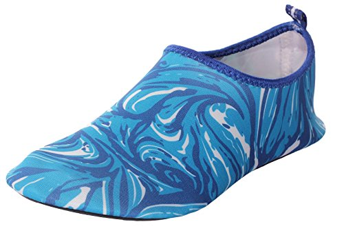 CAIHEE Women's and Men's Lightweight Quick Dry Slip On Water Shoes Aqua Barefoot Skin Shoes (6-7 B(M)US Women/6-6.5 D(M)US Men, Blue2)