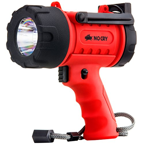 NoCry 18W Waterproof Rechargeable Flashlight (Spotlight) with 1000 Lumen LED, Detachable Red Light Filter, Wall and Car Charger -
