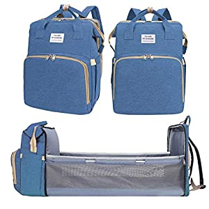 3 in 1 Multifunctional Mummy Bag, Foldable Baby Bed Nappy Backpacks, Portable Travel Bassinet Functions as Diaper Bag…