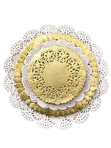 Variety Pack Gold and White Paper Lace Doilies 4 5 6 and 8 inches - Assorted Sizes (pack of 120 - 30 of each -