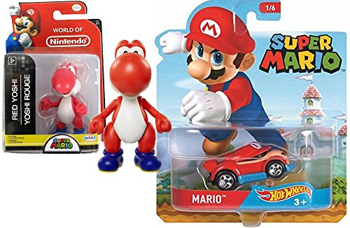 "Cartoon Hot Wheels Character Car 2017 Super Mario Video Game Car & World of Nintendo 2.5"" Red Yoshi Action Mini Figure Pack"