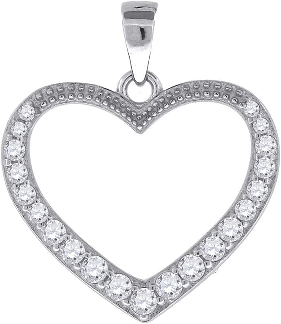 925 Sterling Silver Womens Round Cubic Zirconia Heart Fashion Pendant Measures 18.1x19.3mm Wide