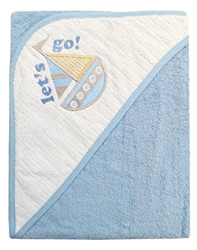 Baby Hooded bath Towel 100% Cotton With Embroidery Designs Made With Love 0-18 Months (Blue (Sailboat Embroidery Designs)
