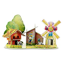 Windmill Farm 3D Puzzle Dollhouse, The Best DIY Gift for Children, Toys Game