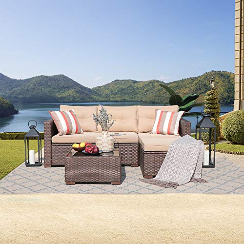 SUNSITT Outdoor Furniture Sectional Sofa (4 Piece Set) All Weather Brown Faux Rattan with Beige Seat Cushions, Ottoman & Glass Coffee Table | Patio, Backyard, Pool