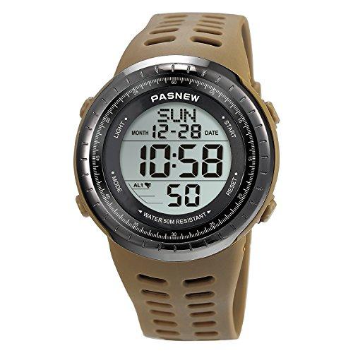 Sport Watch for Men and Women, Multifunctional Wrist Clock, Dual Time Digital Display, 3ATM Waterproof, EL Backlight,12 Group Stopwatch, Countdown Timer, 3 Alarms, Power Saving Function (Grey)