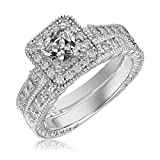 Platinum-Plated Sterling Silver with Cut CZ Elegant Engagement Wedding Princess Diamond Ring 2Pcs/Set(New)