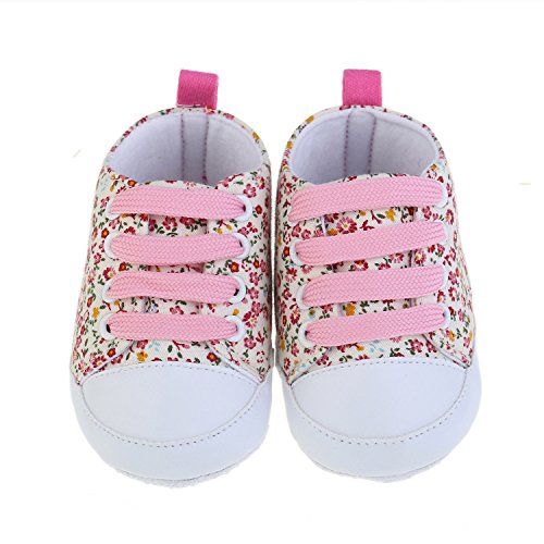 Miuye Kid's Shoes Toddler Soft Soled Anti-Slip Baby Canvas Floral Shoes Toddler/Little Kid Pink