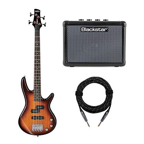 Ibanez GSRM20 MiKro Short-Scale Bass Guitar with FLY3 Bass Amp and Knox Guitar Cable (3 Items)