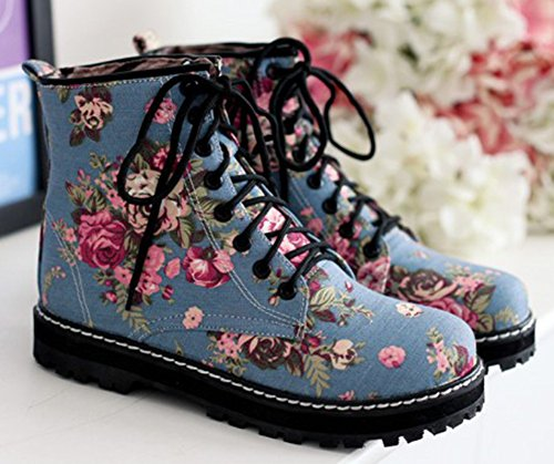 IDIFU Womens Sweet Floral Print Lace Up Denim Ankle Biker Boots Short Martin Booties Low Heels Light Blue swbouXEJ