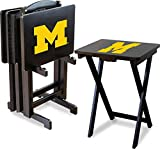 Imperial Officially Licensed NCAA Merchandise: Foldable Wood TV Tray Table Set with Stand, Michigan Wolverines