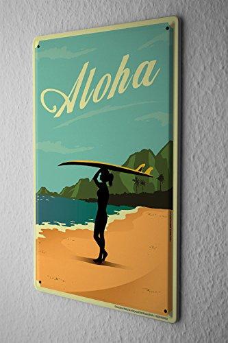 Nostalgic Tin Sign Wall Plate Woman surfboard beach Aloha Metal Wall Plate - Wall Sign Surf