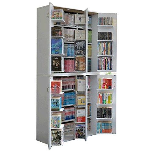 DVD 収納 ラック CD 収納 漫画 コミック 本棚 大量 幅90 高さ93 2個組 日本製 ホワイト B07F8N27NW