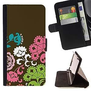 Patrón Flores Marrón Rosa Verde- Modelo colorido cuero de la carpeta del tirón del caso cubierta piel Holster Funda protecció Para HTC One M8