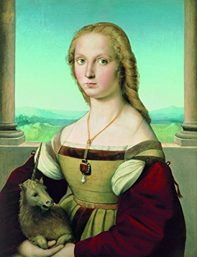 Raphael - Portrait of a Lady with a Unicorn, Size , Gallery wrapped canvas art print wall décor