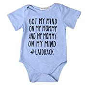 Newborn Baby GOT My Mind ON My Mommy Funny Bodysuits Rompers Outfits Blue(3-6M, Blue)