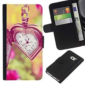 KLONGSHOP // Tirón de la caja Cartera de cuero con ranuras para tarjetas - amor el tiempo no espera viñeta verano profunda - Samsung Galaxy S6 EDGE //