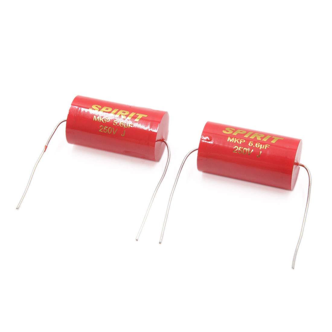 sourcing map 2Pcs 5.6uF 250V 17 X 31mm Rojo Condensadores Electrol/íticos de Audio de Coche Veh/ículo