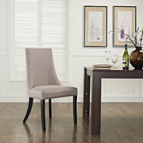 Modway Reverie Modern Upholstered Fabric Parsons Kitchen and Dining Room Chair in Beige