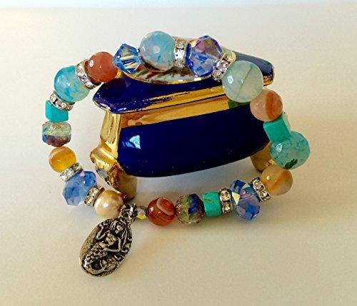 Green Girl Mermaid Bracelet, Mixed Gemstone Bracelet, Agate, Turquoise, Freshwater Pearl, Czech Glass, Swarovski Crystal, Pewter Mermaid Charm