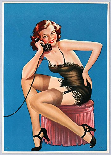 Vintage 1940s Original Large Pin-Up Girl Art Print Lithograph Redheaded Gossip Girl in Stockings, Garters & Negligee on Telephone Antique