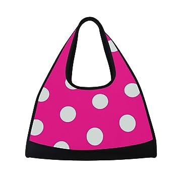 Amazon.com: Bolsa de gimnasio rojo lunares rosa fondo mujer ...