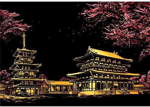 DIYの桜のスクラッチ絵画はがきの夜景をこする絵画