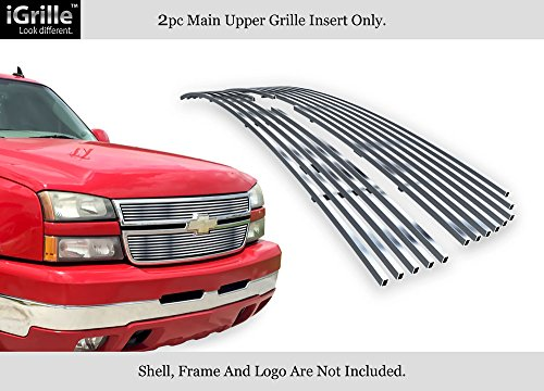 APS Fits 2005-2006 Chevy Silverado 1500/2500 HD/ 3500/07 Silverado Classic Style Stainless Steel Silver 8x6 Horizontal Billet Grille Insert #N19-C60356C Aps Classic Billet Grille