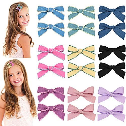 - Gejoy 18 Pieces Baby Girls Hair Clips Barrette Hair Bows Grosgrain Bow Hair Clips for Teen Girls Hair Decoration