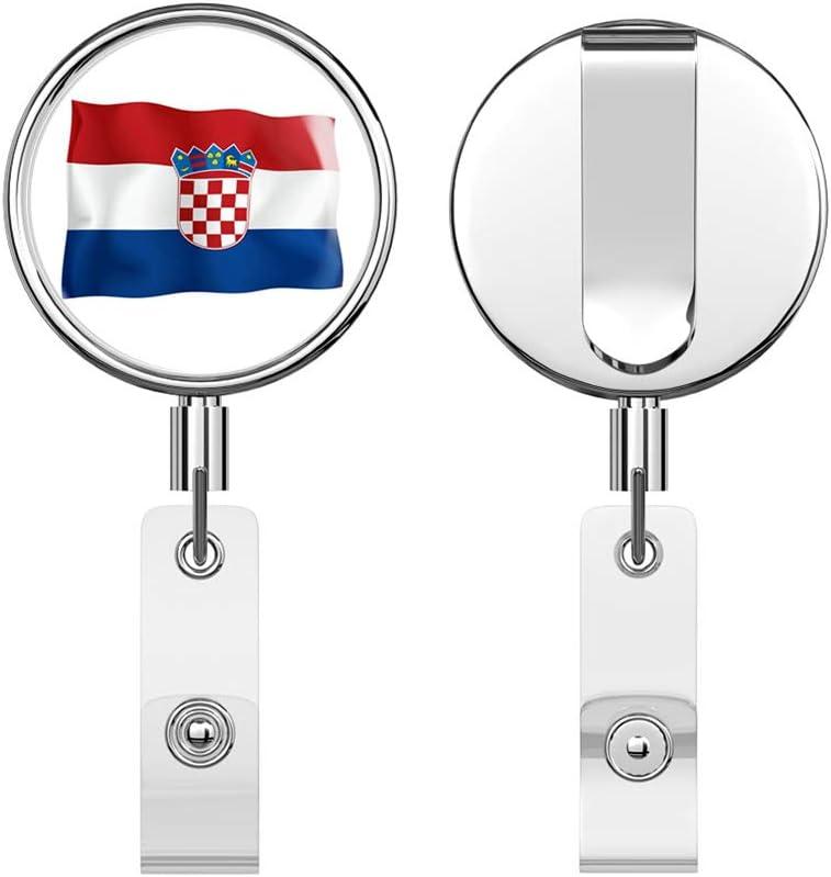 Croatia Flag Retractable Reel Chrome Metal Badge ID Card Holder Clip
