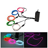 Xcellent Global 5 Pack Neon EL Wire Glowing Strobing Flashing Electroluminescent Wire/El Wire + 3 Modes Sounds Control Battery Powered for Buring Man Cosplay Dress Parties Vehicle Bar Decoration Halloween Christmas LD096