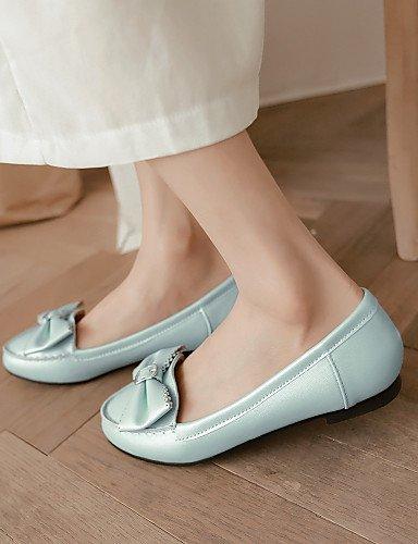 Lässig Uk4 Cn37 Kunstleder Weiß - Rundeschuh Absatz Damenschuhe 5-7 Pdx Ballerinas White-us6 Rosa Eu37 Flacher 5-5 Outddor Sportlich Blau