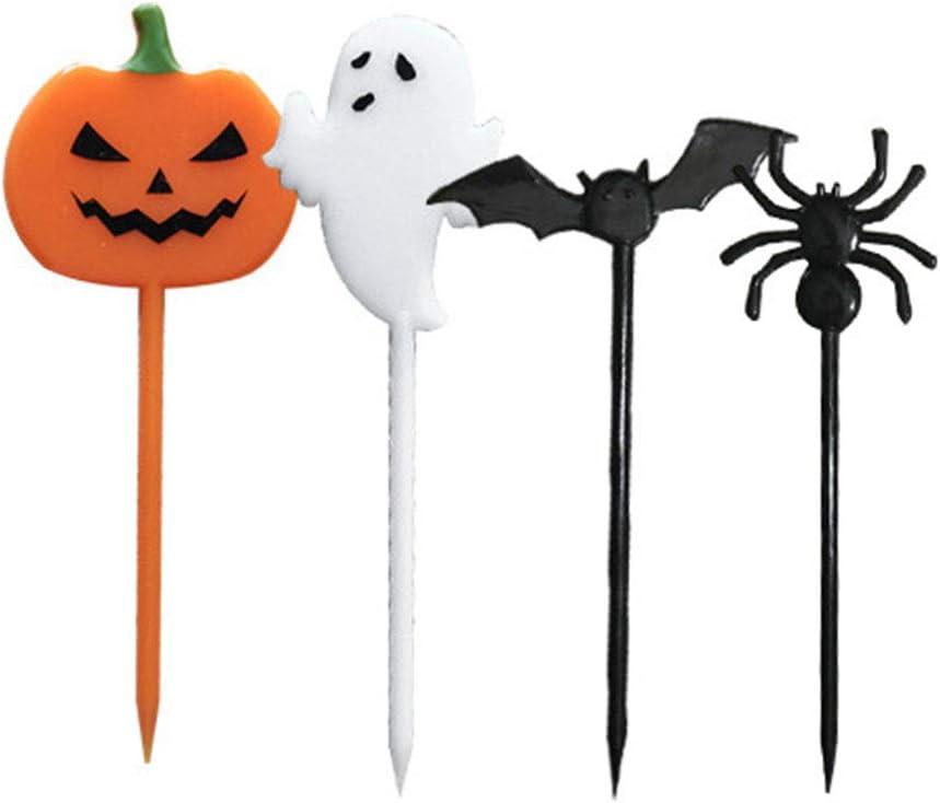 Halloween Party Decorated Plastic Cupcake Toppers Halloween Cake Decorating Toppers Party Favors 20pcs (Random Pattern)