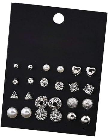 99031e0d831c Hosaire 12 Paires Femmes Boucles d oreilles Romantique Perle et Fleurs et  cœur Form éclat