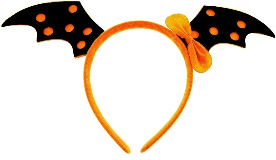 Costume Arancione Copricapo Halloween Cosplay Travestimento Donna Bambina Idea regalo per natale e compleanno Cerchietto Ali Pipistrello Super eroe Carnevale Accessori Nero