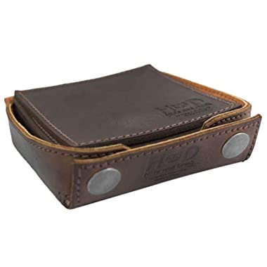 Hide & Drink, Durable Thick Leather Square Box Set Coasters w/Stitching (6-Pack) Handmade Includes 101 Year Warranty :: Bourbon Brown