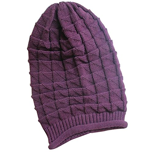 Gilroy Women Rhombus Tricorne Winter Warm Crochet Knit Beanie Skull Cap - Purple