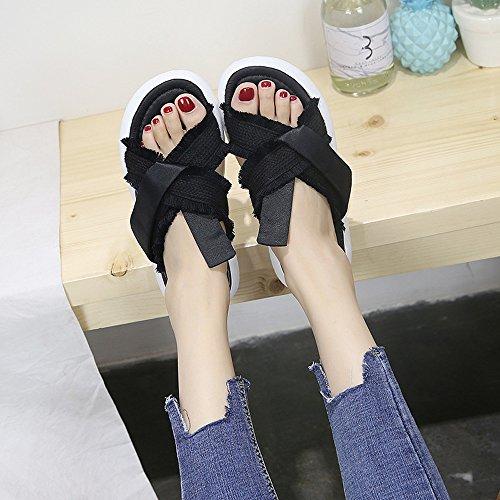 Flecos de Pastel Nacional de Mujer Pino con Amyannie Inferior Zapatos Sandalias con Forma Plano Estilo Negro Antideslizantes Cruz Grueso qEtnxx6F