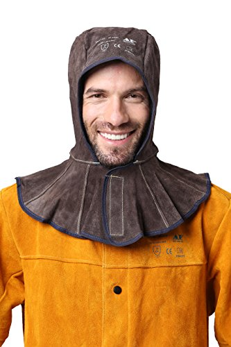 AP-3000C brown cowhide split leather welding hood with 15cm neck shoulder drape