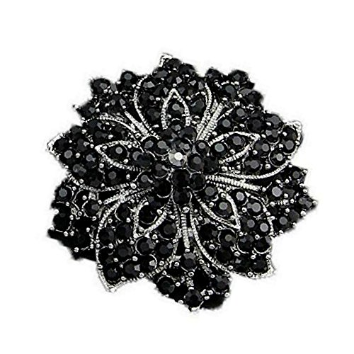 (Ezing Fashion Jewelry Beautiful Silver Plated Rhinestone Crystal Brooch Pin For Woman (black))