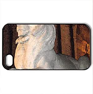 Lion at NYC Library - Case Cover for iPhone 4 and 4s (Monuments Series, Watercolor style, Black)