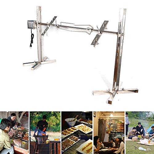 Rotisserie Motor Kit Stainless Steel Electric Grill Rotisserie System Tripod Spit Roaster Rod Charcoal BBQ Outdoors