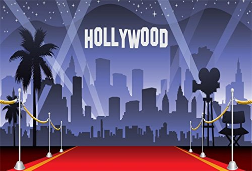 AOFOTO 7x5ft Hollywood Red Carpet Backdrop Movie Night Stage Photography Background Celebrity Event Party Premiere Banner Photo Studio Props Kid Adult Artistic Portrait Activity Decoration -