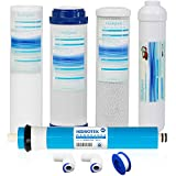 Universal Compatible 5 Stage Reverse Osmosis Replacement Filter Set with 100 GPD Membrane -Standard 10 Inch