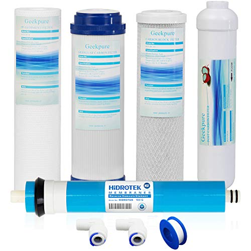 Universal Compatible 5 Stage Reverse Osmosis Replacement Filter Set with 100 GPD Membrane -Standard 10 Inch ()