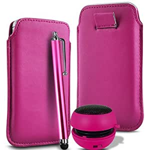 HOT PINK SUPERIOR PU SOFT LEATHER PULL FLIP TAB CASE COVER POUCH , HIGH SENSITIVE STYLUS PEN & RECHARGEABLE MINI POCKET SIZE PORTABLE SPEAKER FOR SONY ERICSSON XPERIA RAY BY N4U ACCESSORIES