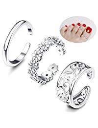 Thunaraz 3 Pcs Toe Rings for Women Girls Adjustable Open Toe Ring Gifts Jewelry Set