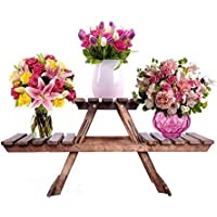 US Handicrafts Vintage Wooden Multipurpose Folding Rack/Plant Stand with 3 Decks/Living Room Side Stand/Wooden Stool/Flower Pot Stand/Vase Stand Plant Stand for Garden and Outdoors