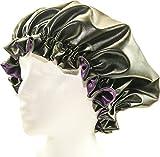 Kids PLUM-Leather & Satin hair bonnet - Shower Cap Large (6 in 1) Leather & Satin hair bonnet - Shower Cap - Self Warming Hot Oil Treatment - Deep Condition - Cold & Flu and GYM BONNET