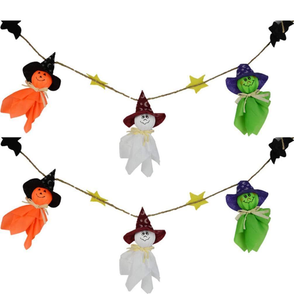 Ogquaton Premium Qualit/é Halloween Ghost String Drapeau Citrouille Guirlande Ornements D/écorations De Maison Hant/ée